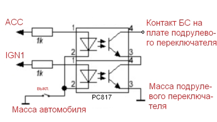 """Связь контактов БС фар и масса платы левого подрулевого переключателя  """"разрезана """" двумя последовательно подключенными..."""